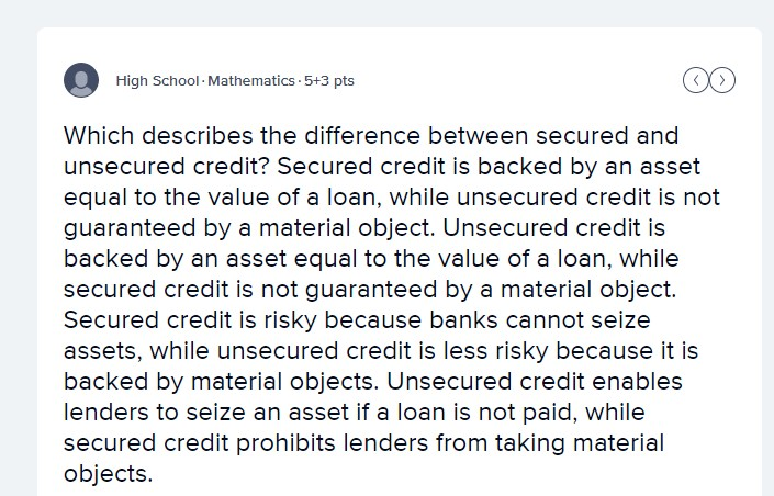 unsecured credit