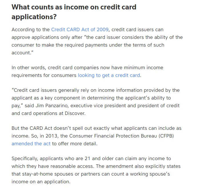 what to put for income on credit card application student