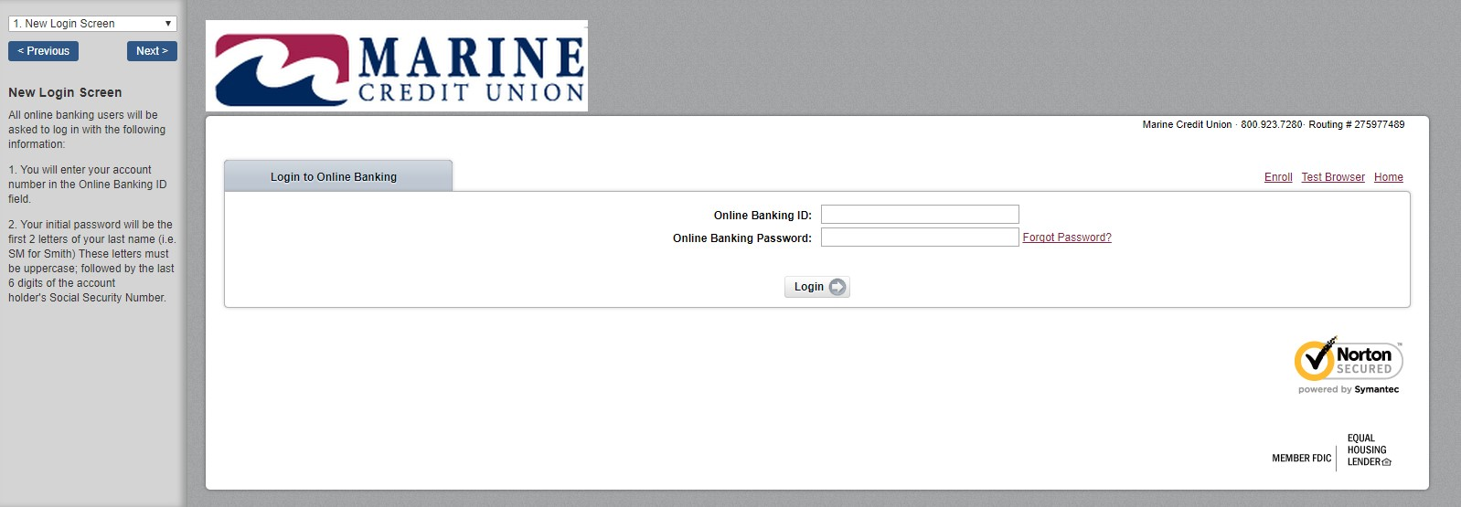 marine credit union  Login Screen