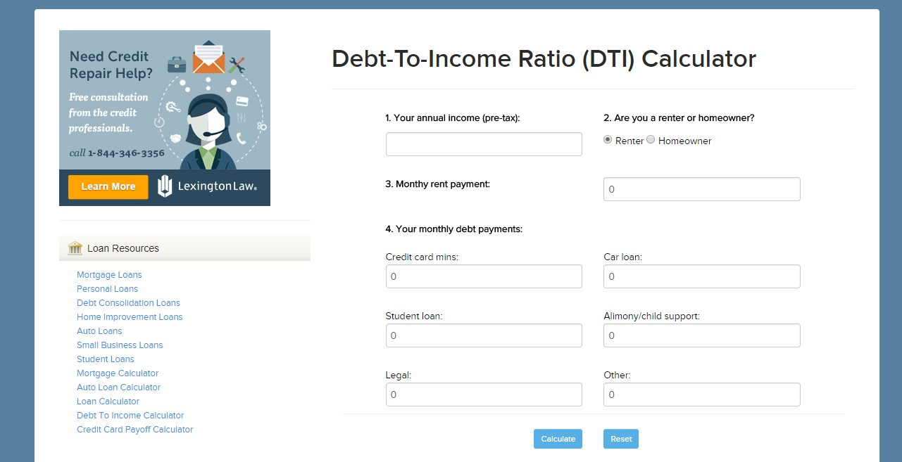 calculate your debt-to-income ratio (DTI)
